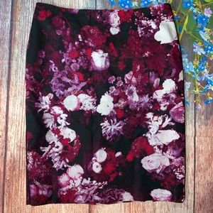 Adrianna Papell Black Pink Floral Pencil Skirt 6